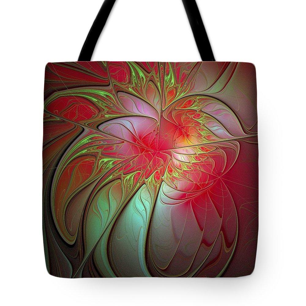 Digital Art Tote Bag featuring the digital art Vase Of Flowers by Amanda Moore