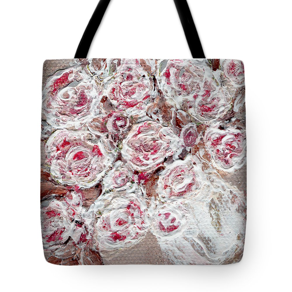 Abstract Art - Pink Flowers- Expressionistic - Peachy- Beauty - Paintings - Acrylic Paintings. Tote Bag featuring the painting Vase Of Hope Original Is Sold by Rae Ann M Garrett