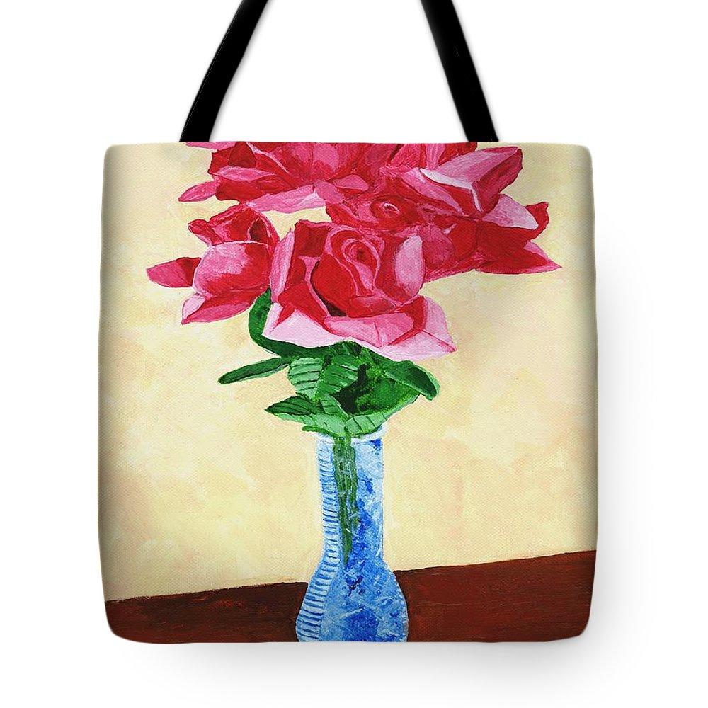 Red Roses Tote Bag featuring the painting Vase Of Red Roses by Rodney Campbell