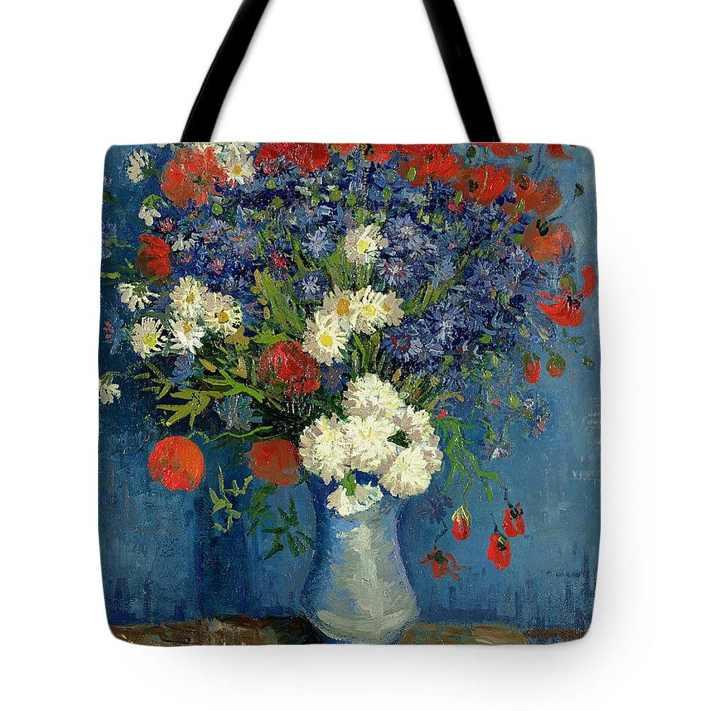 Still Tote Bag featuring the painting Vase With Cornflowers And Poppies by Vincent Van Gogh