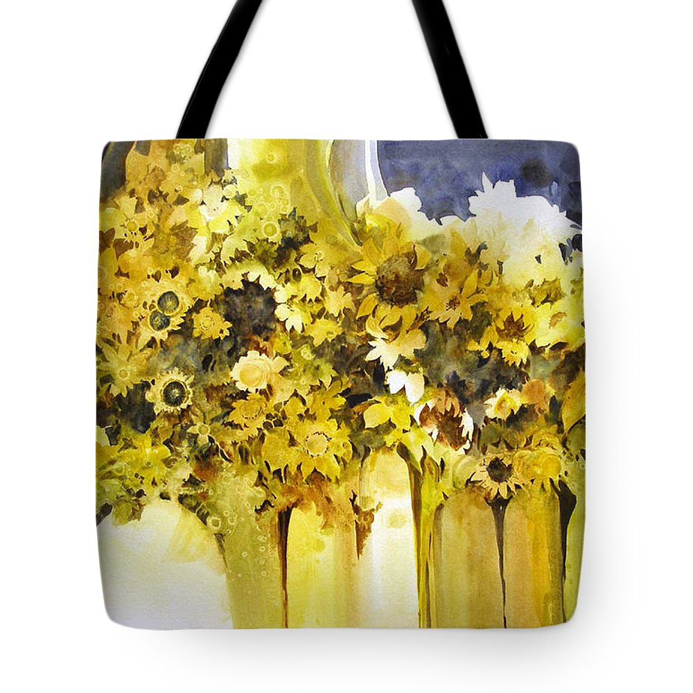 Yellow Flowers;sunflowers;vases;floral;contemporary Floral; Tote Bag featuring the painting Vases Full Of Blooms  by Lois Mountz