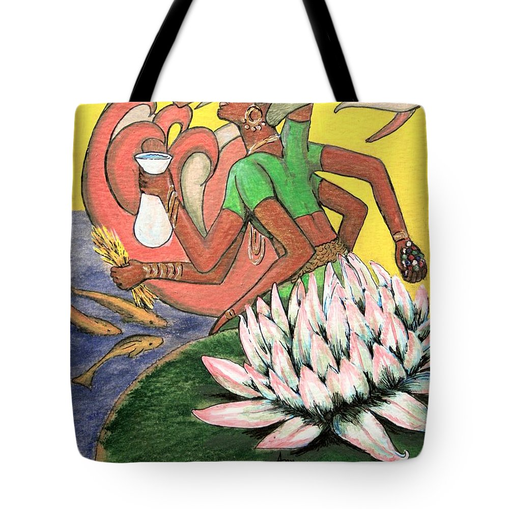Godess Tote Bag featuring the painting Vasudhara by Ann Sokolovich