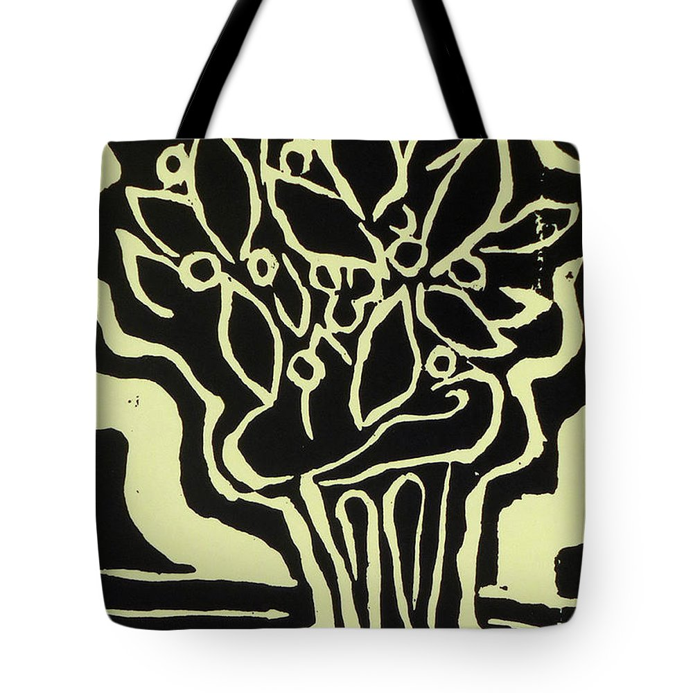 Woodcut Tote Bag featuring the drawing Vasum Yellow by Phillip Castaldi