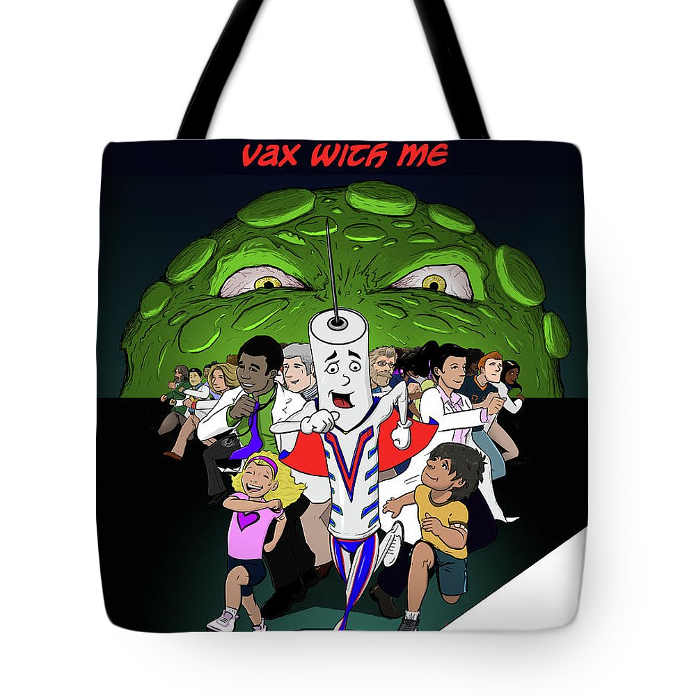 #worldimmunizationweek #vaccineswork #getvax #vaxwithme #kids #publichealth #vaccinessavelives #sciart #scicomm Tote Bag featuring the drawing Vaxwithme by Susan Nasif