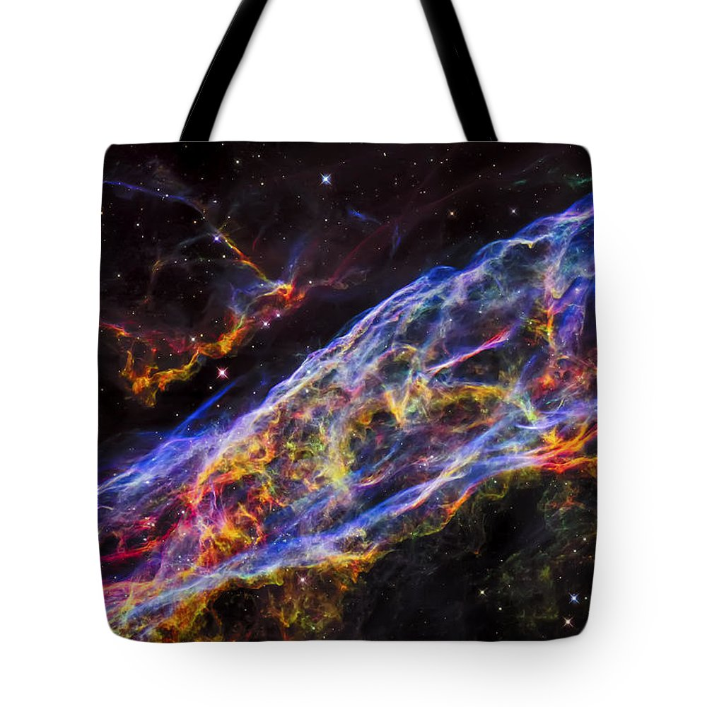 The Universe Tote Bag featuring the photograph Veil Nebula - Rainbow Supernova by Jennifer Rondinelli Reilly - Fine Art Photography