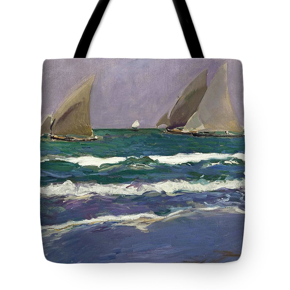 Joaquin Sorolla Y Bastida Tote Bag featuring the painting Velas En El Mar. Valencia by Joaquin Sorolla y Bastida