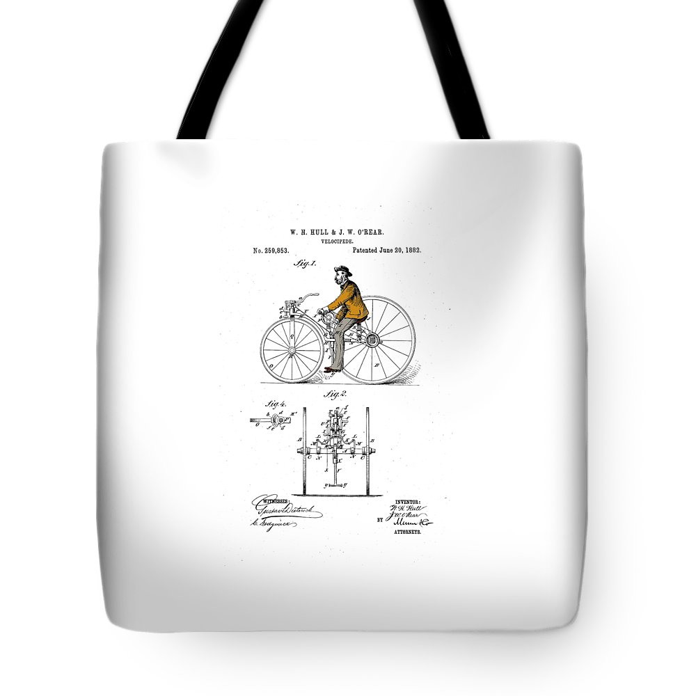 Bicycle Tote Bag featuring the drawing Velocipede 1882 by Ray Walsh
