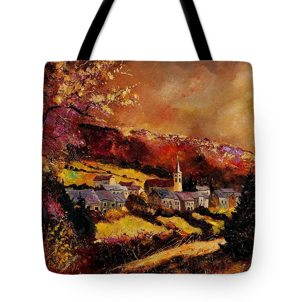 River Tote Bag featuring the painting Vencimont Village Ardennes by Pol Ledent