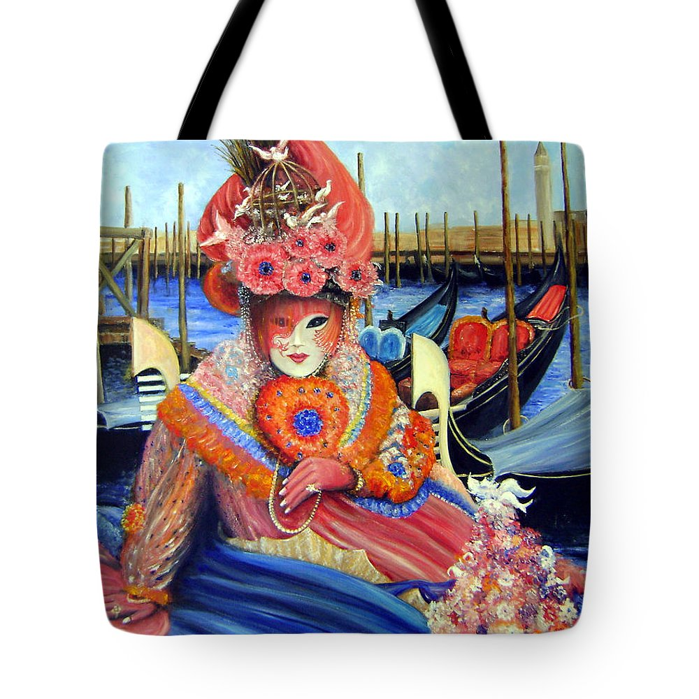 Venice Tote Bag featuring the painting Venetian Carneval Mask With Bird Cage by Leonardo Ruggieri