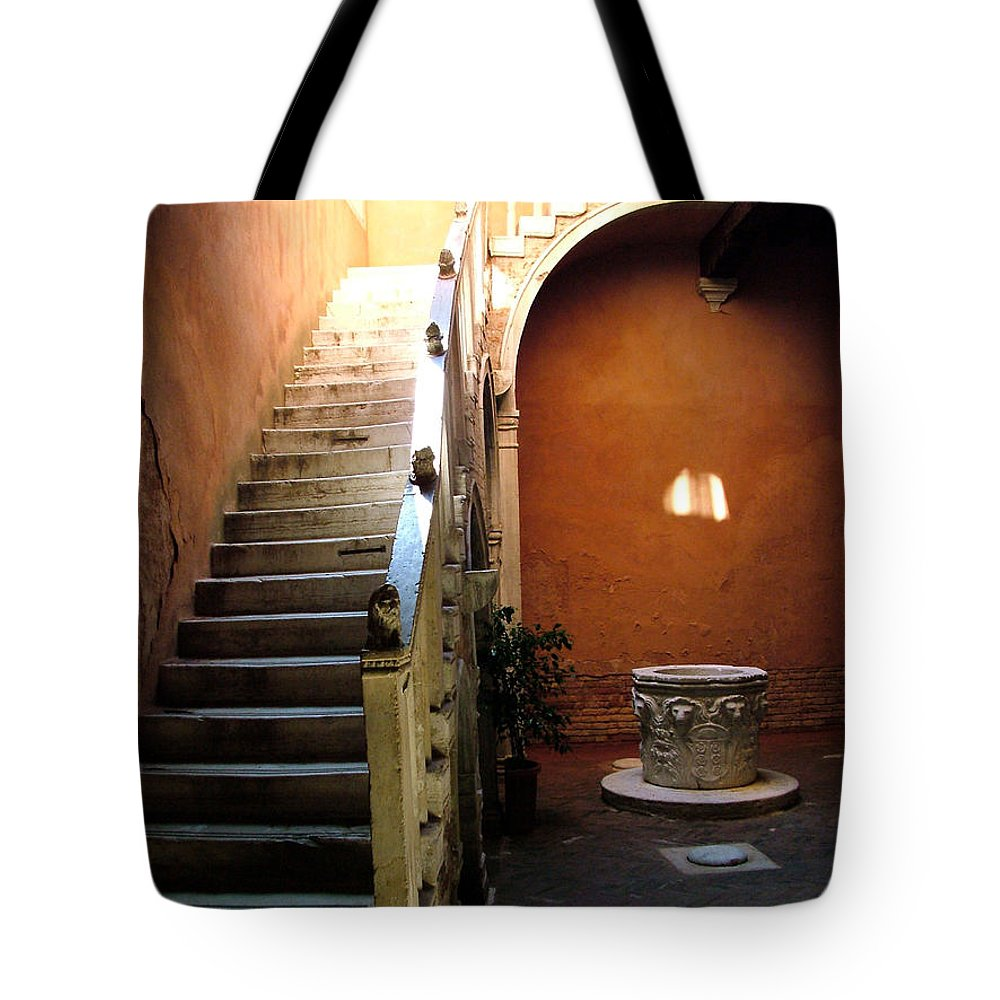 Architecture Tote Bag featuring the photograph Venetian Stairway by Donna Corless