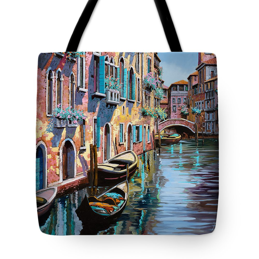 Venice Tote Bag featuring the painting Venezia In Rosa by Guido Borelli