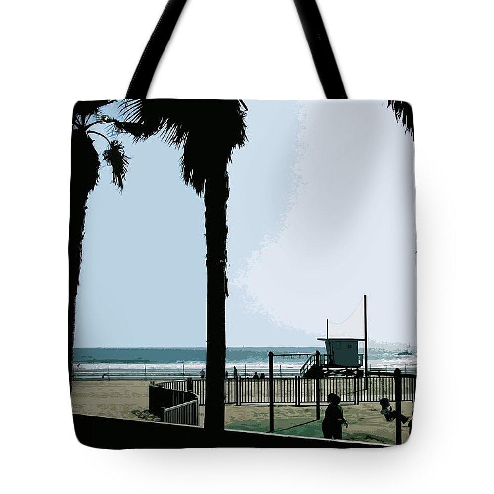 Venice Tote Bag featuring the digital art Venice Beach California by Phill Petrovic