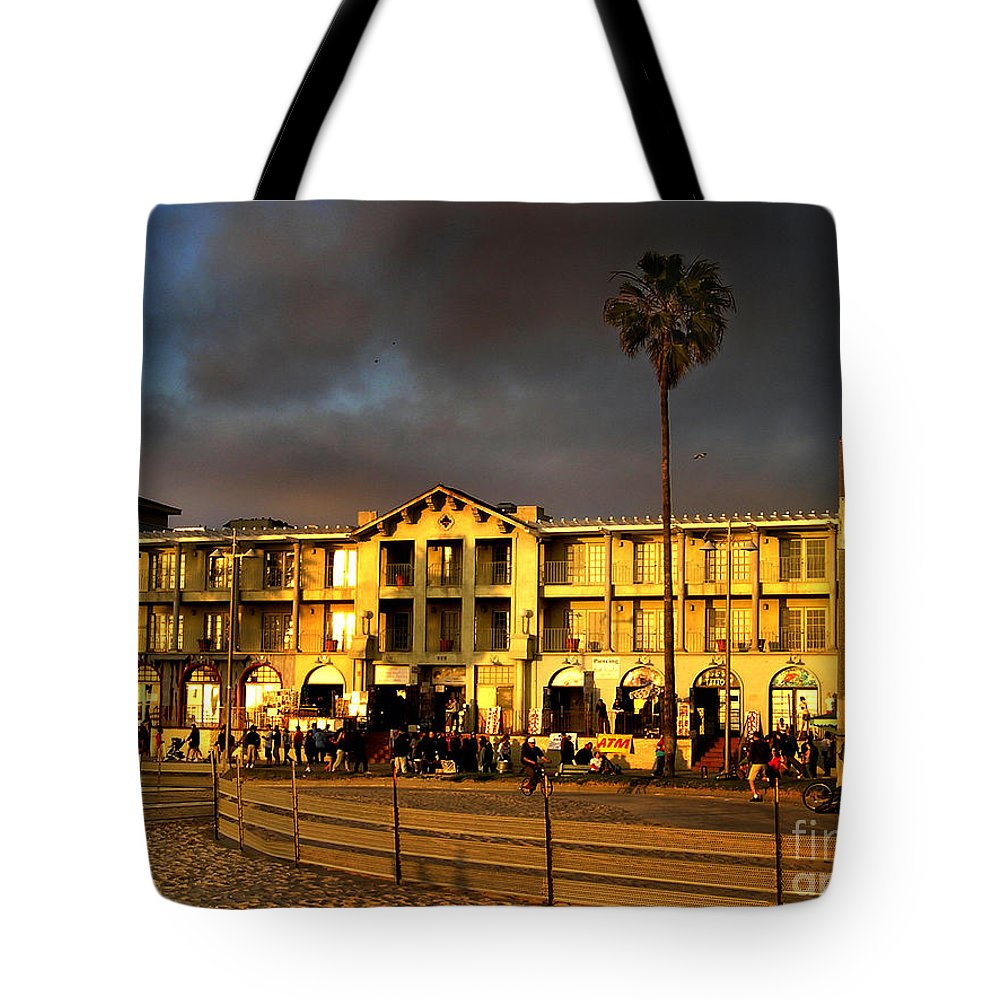Venice Beach Tote Bag featuring the photograph Venice Beach. Golden Sunset by Sofia Metal Queen