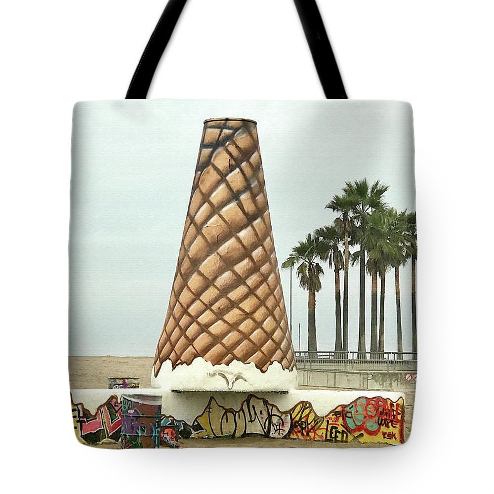 Venice Tote Bag featuring the photograph Venice Beach Ice Cream Cone Art by Art Block Collections