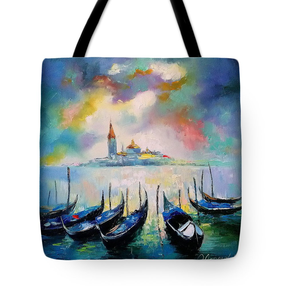 Venice Before The Rain Tote Bag featuring the painting Venice Before The Rain by Olha Darchuk