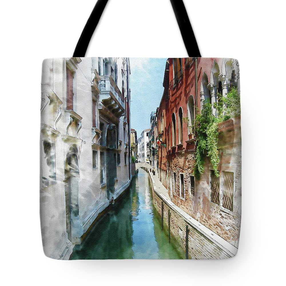 Venice Tote Bag featuring the digital art Venice Canal by Diana Van