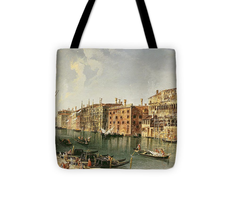 Marieschi Tote Bag featuring the painting Venice, Grand Canal And The Fondaco Dei Turchi by Michele Marieschi