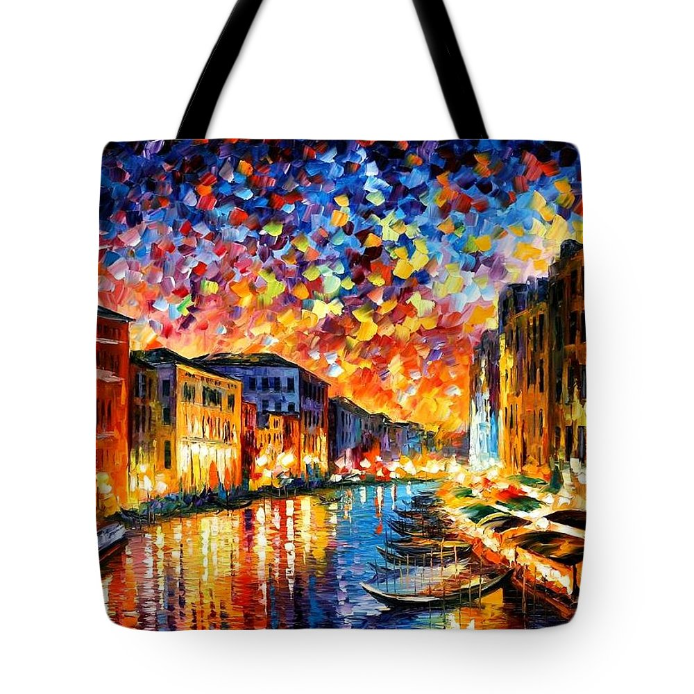 Afremov Tote Bag featuring the painting Venice - Grand Canal by Leonid Afremov