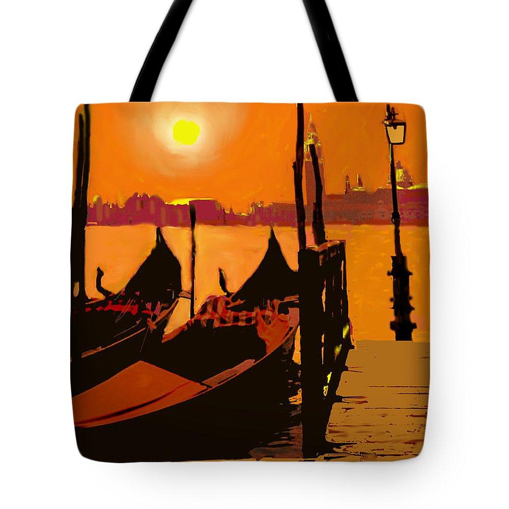 Venice Tote Bag featuring the digital art Venice In Orange by Ian MacDonald