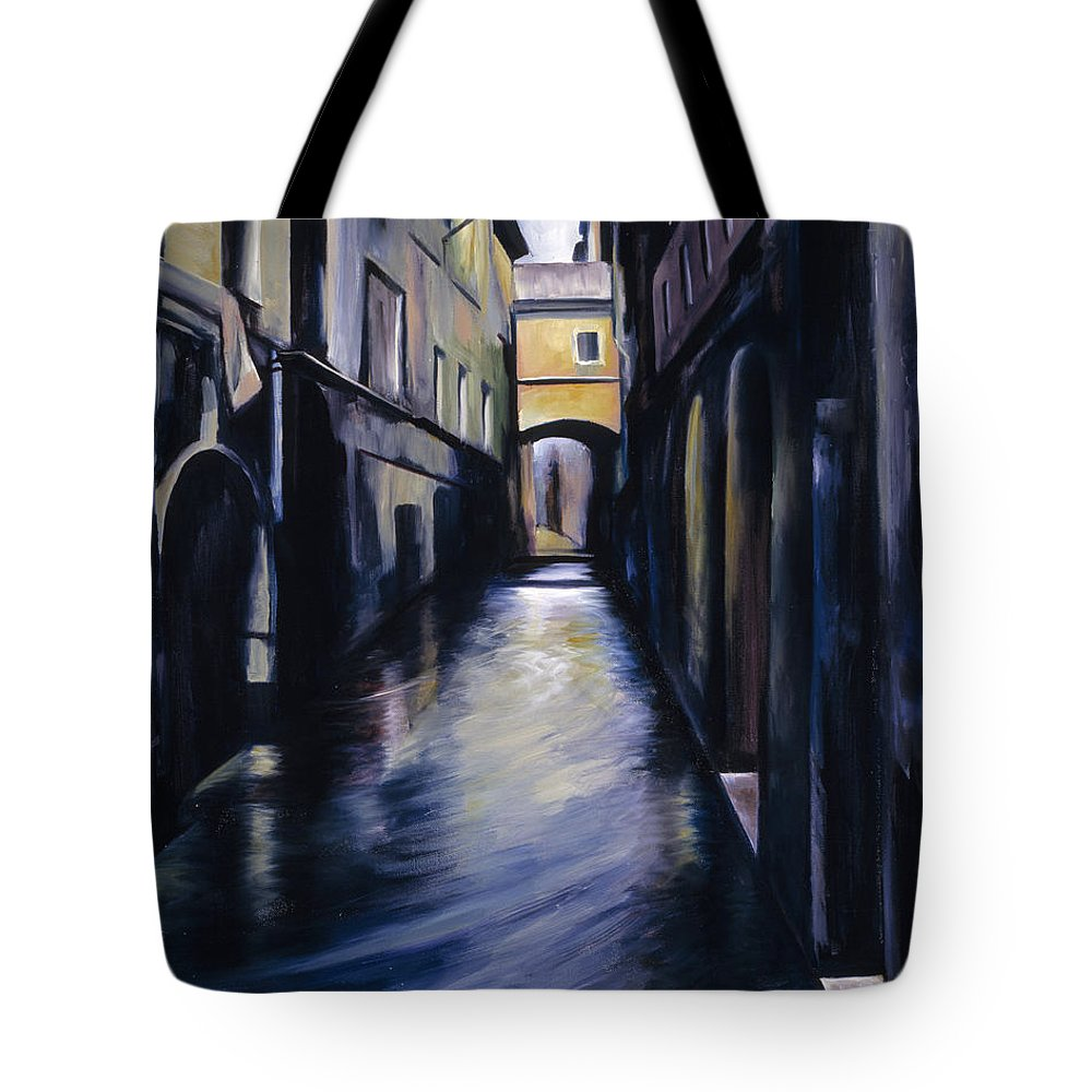 Street; Canal; Venice ; Desert; Abandoned; Delapidated; Lost; Highway; Route 66; Road; Vacancy; Run-down; Building; Old Signage; Nastalgia; Vintage; James Christopher Hill; Jameshillgallery.com; Foliage; Sky; Realism; Oils Tote Bag featuring the painting Venice by James Christopher Hill