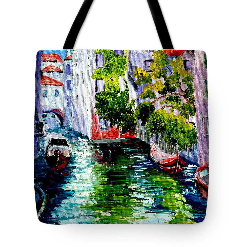 Venice Tote Bag featuring the painting Venice Reflection by Inna Montano
