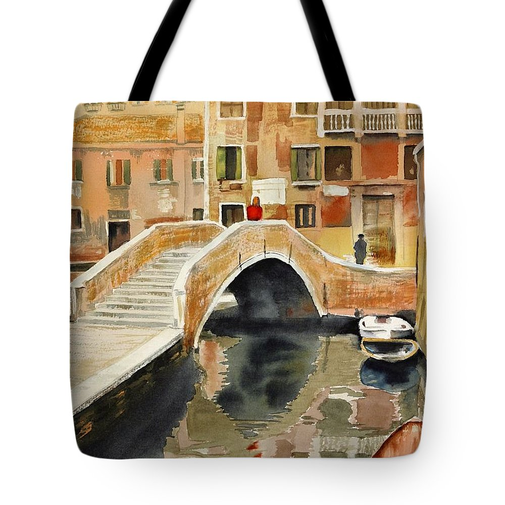 Landscape Tote Bag featuring the painting Venizia by Madeleine Holzberg