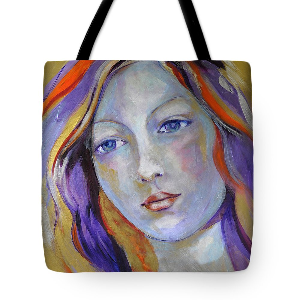 Faces Tote Bag featuring the painting Venus In Iridescents by Michael Clifford Shpack