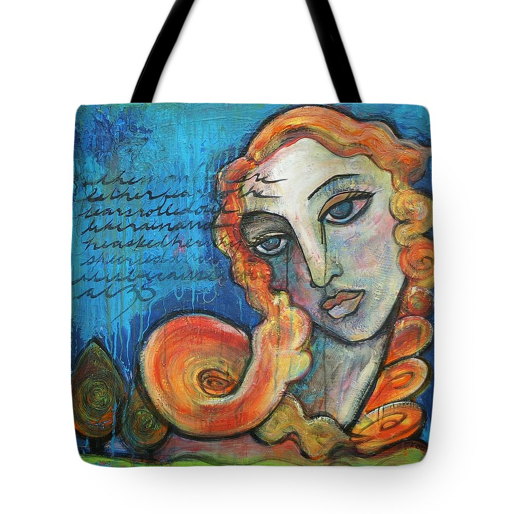 Venus Tote Bag featuring the painting Venus Lets Go by Laurie Maves ART