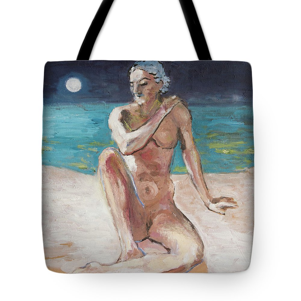 Nude Tote Bag featuring the painting Venus Of The Moon by Craig Newland