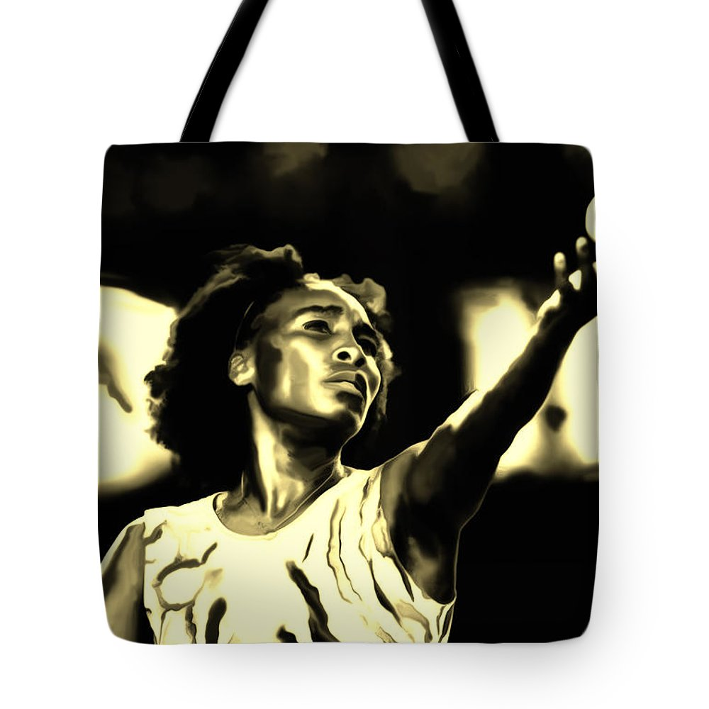 Venus Williams Tote Bag featuring the painting Venus Williams Match Point by Brian Reaves