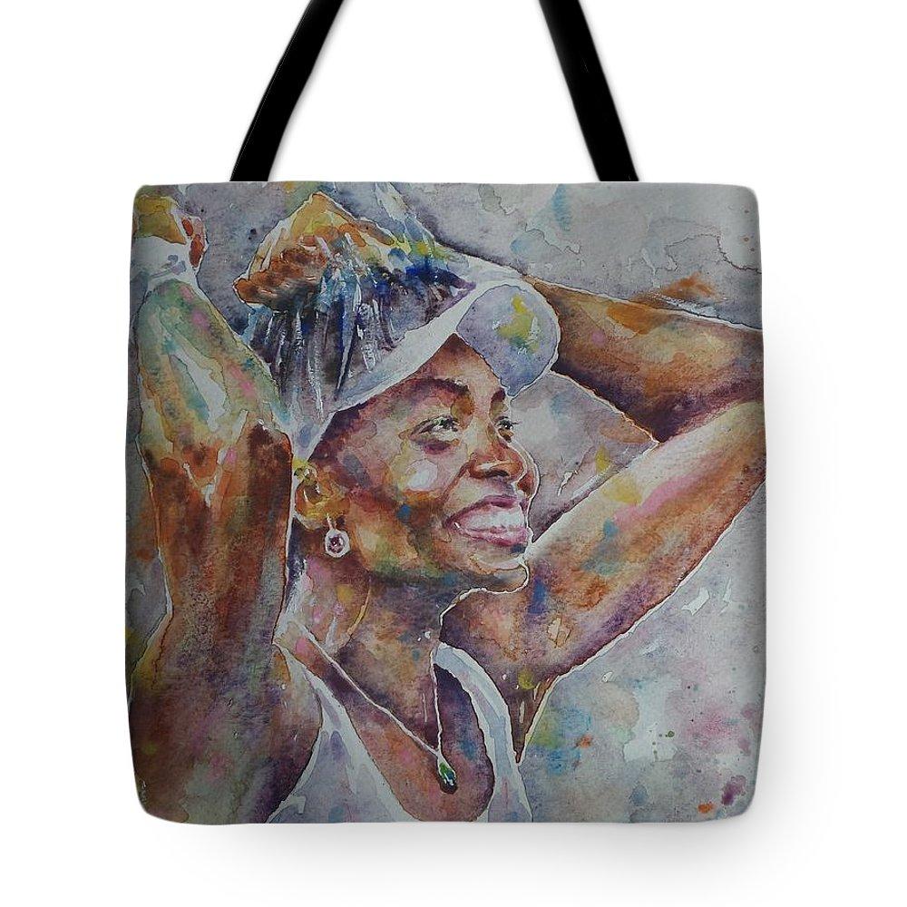 Venus Williams - Portrait 1 Tote Bag featuring the painting Venus Williams - Portrait 1 by Baris Kibar
