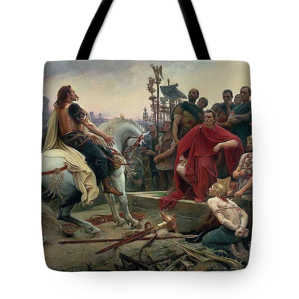 Vercingetorix Tote Bag featuring the painting Vercingetorix throws down his arms at the feet of Julius Caesar by Lionel Noel Royer