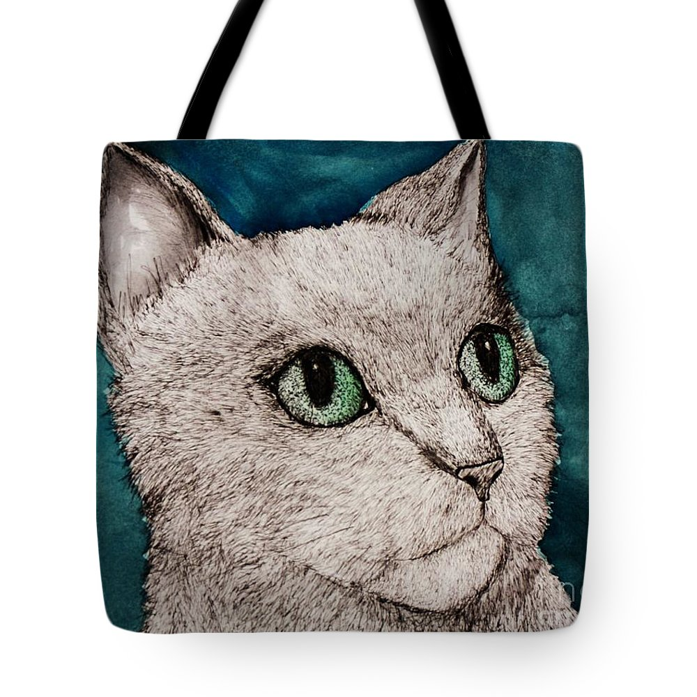 Cat Tote Bag featuring the painting Verde Eyes by Melinda Etzold