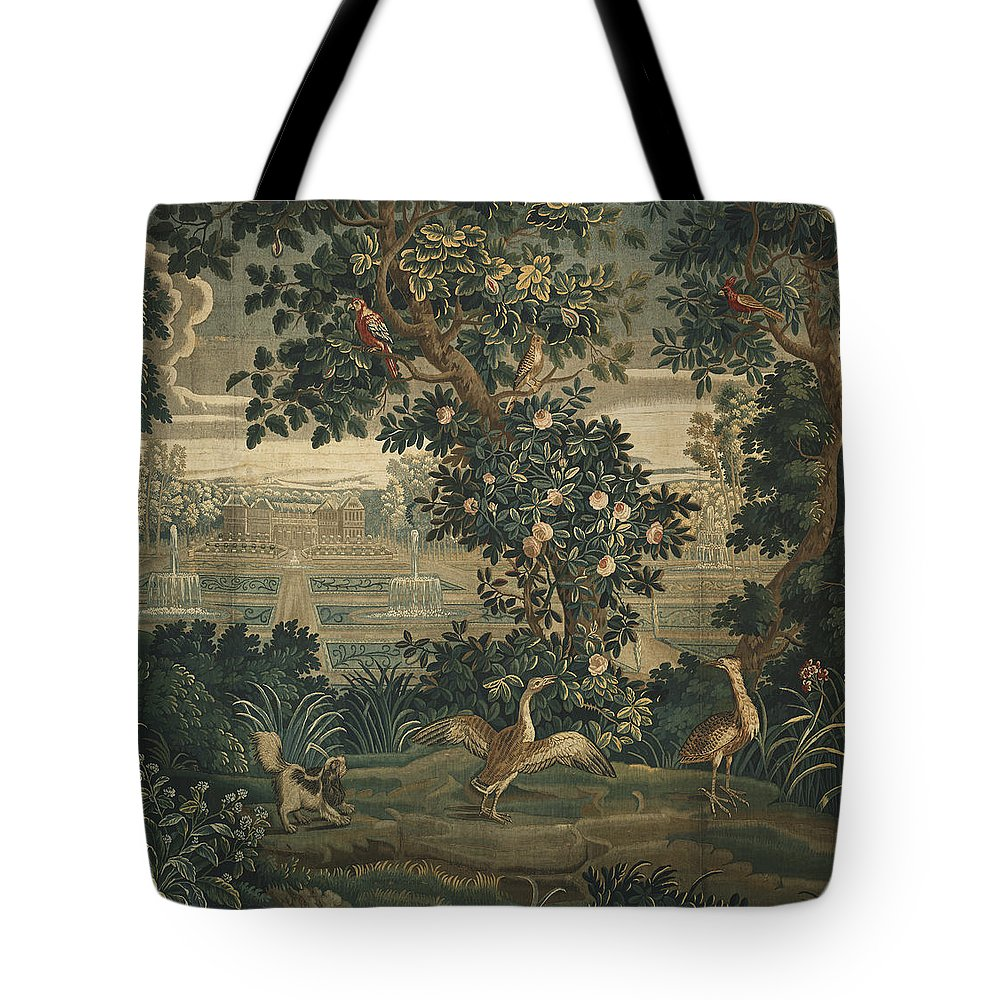 Animal Tote Bag Featuring The Tapestry   Textile Verdure With Chateau And  Garden By The Widow
