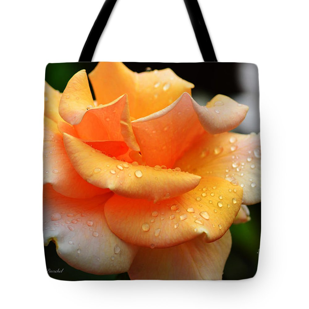 Rose Tote Bag featuring the photograph Variegated Yellow Rose by Debby Pueschel