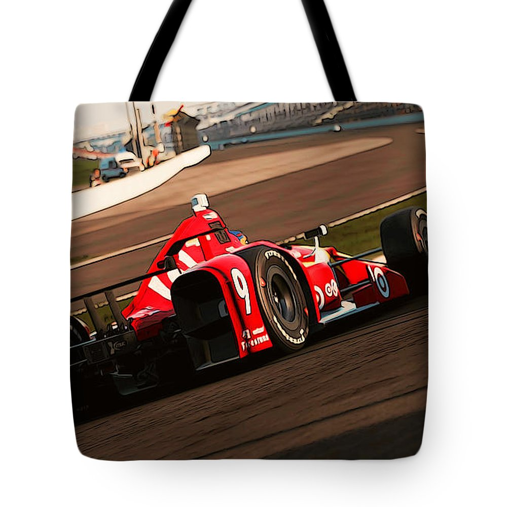 Verizon Indycar Series Tote Bag featuring the painting Verizon Indycar Series - 3 by Andrea Mazzocchetti