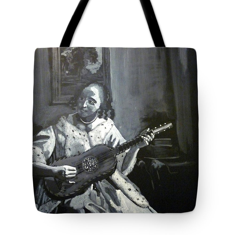 Vermeer Tote Bag featuring the painting Vermeer Guitar Player by Richard Le Page