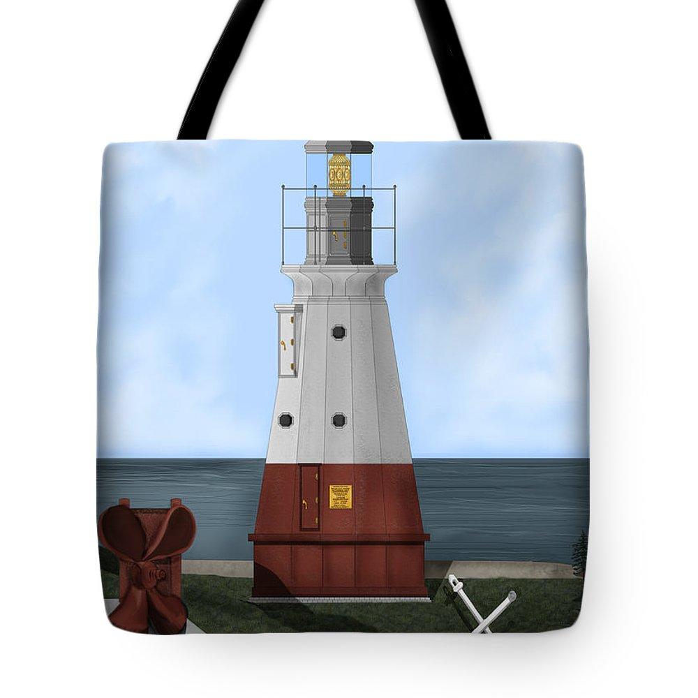 Lighthouse Tote Bag featuring the painting Vermillion River Lighthouse On Lake Erie by Anne Norskog