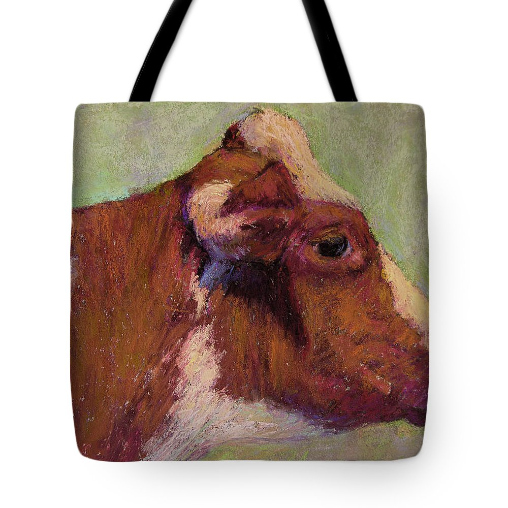 Farm Animals Tote Bag featuring the painting Vermont Red And White by Susan Williamson