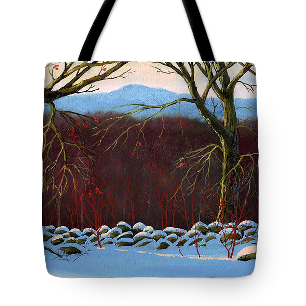 Landscape Tote Bag featuring the painting Vermont Stone Wall by Frank Wilson