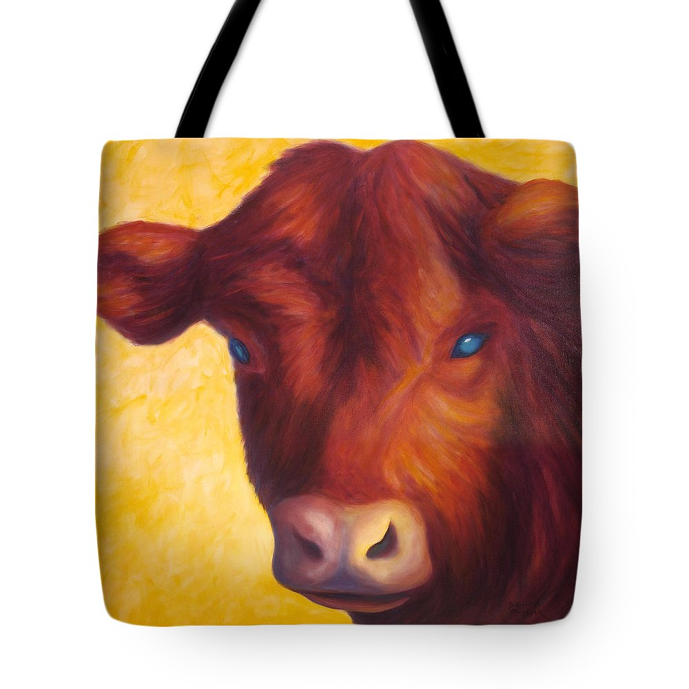 Bull Tote Bag featuring the painting Vern by Shannon Grissom
