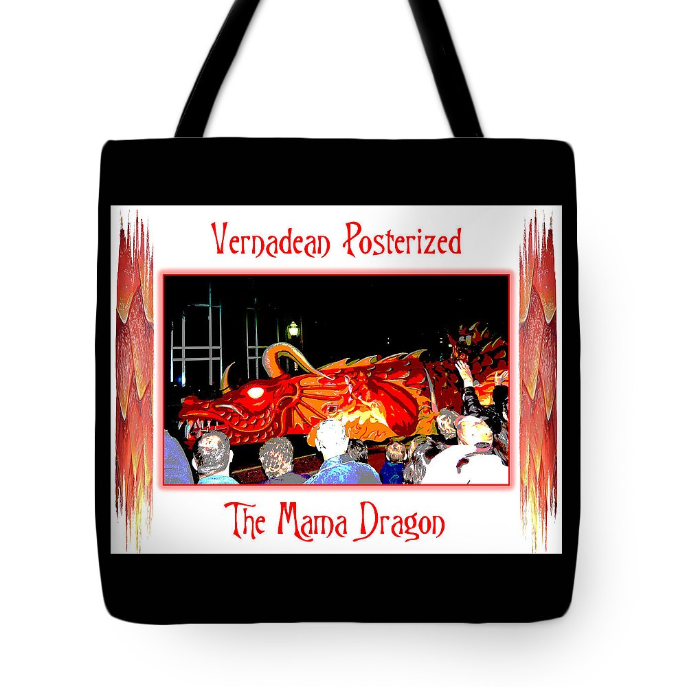 Digital Art Tote Bag featuring the photograph Vernadean Posterized - The Mama Dragon by Marian Bell