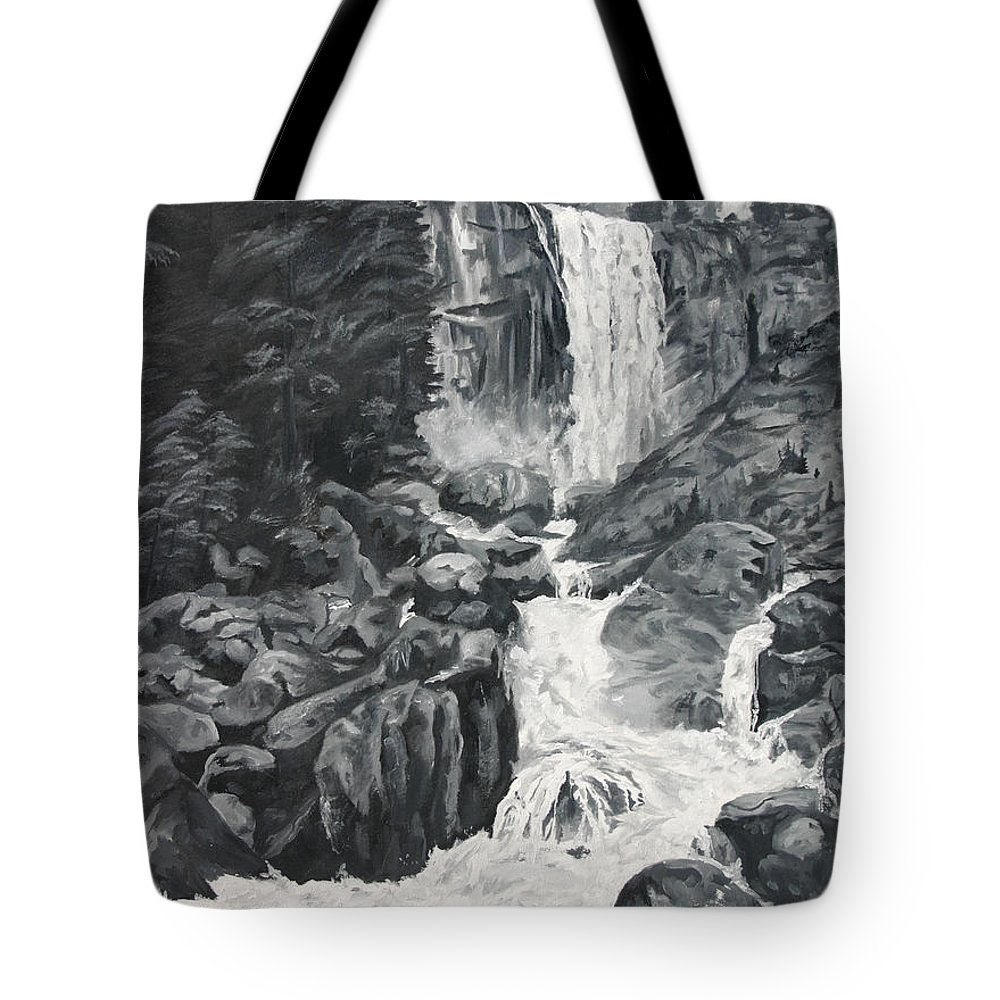 Landscape Tote Bag featuring the painting Vernal Falls Black And White by Travis Day