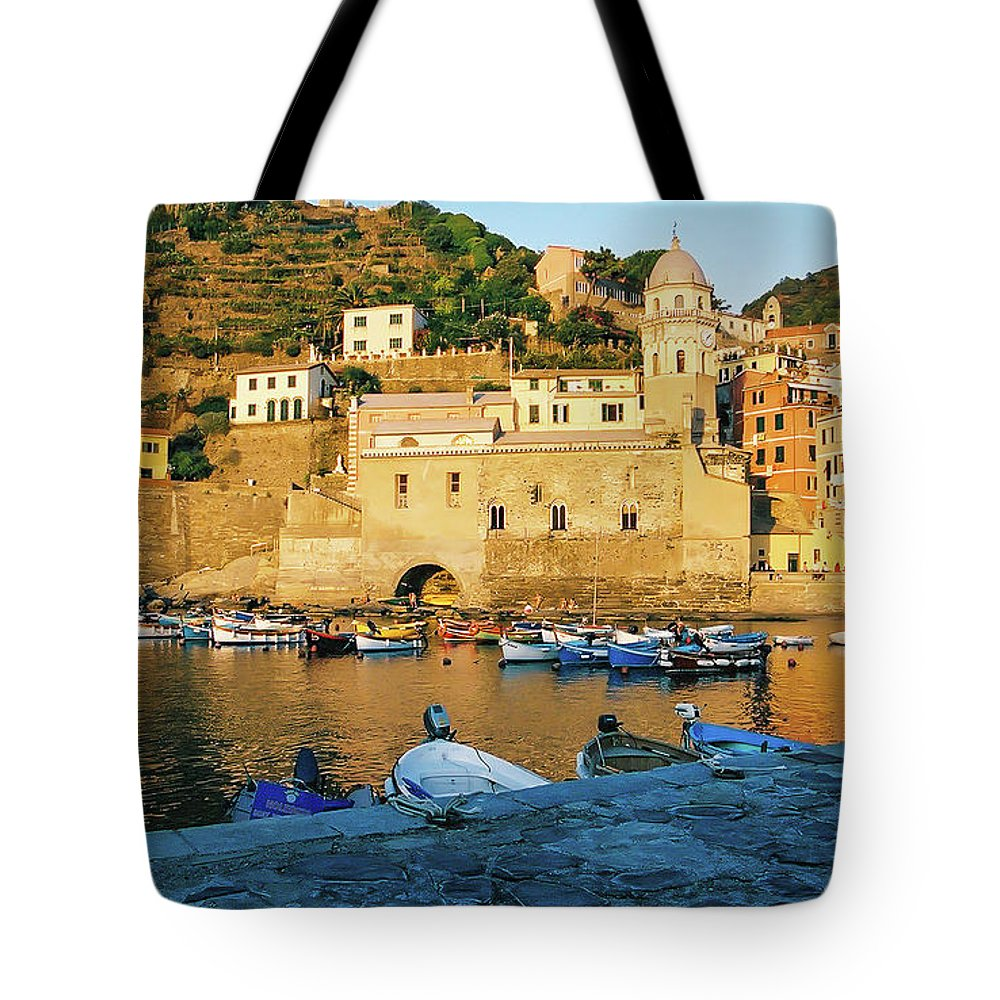 Vernazza Tote Bag featuring the photograph Vernazza, Italy, At Sunset by Patrick Civello