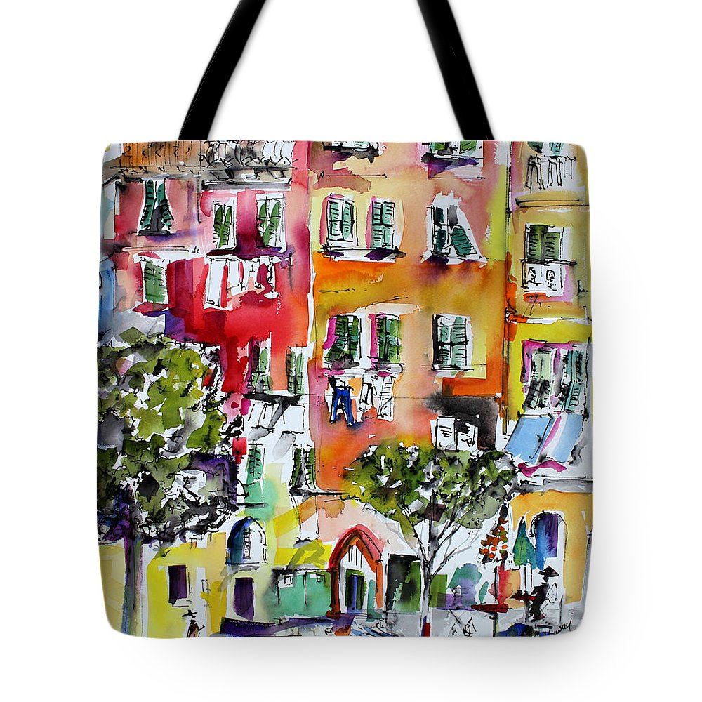 Vernazza Tote Bag featuring the painting Vernazza Laundry by Ginette Callaway