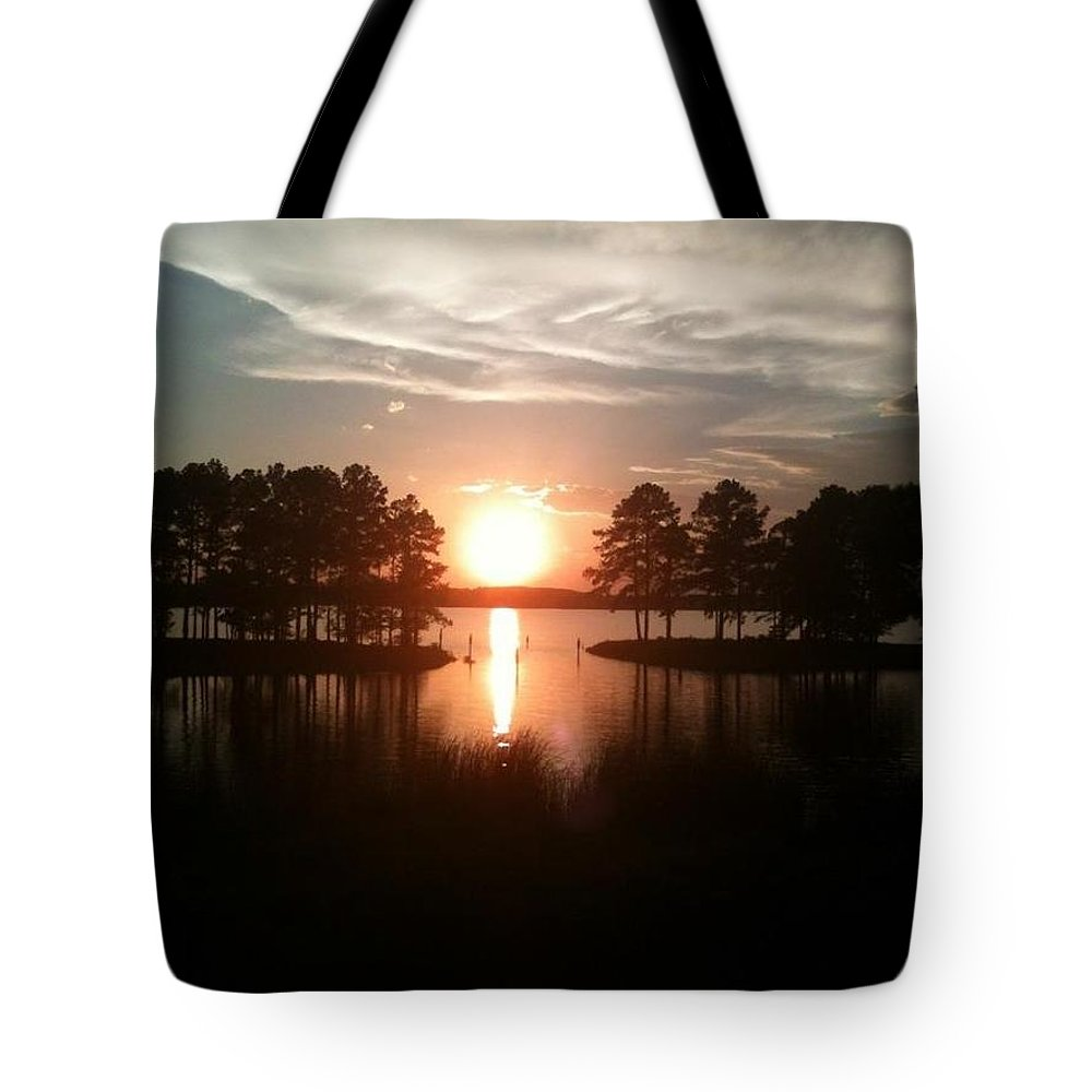 Sunset Tote Bag featuring the photograph Vernon Lake Sunset 1 by Samantha Edney
