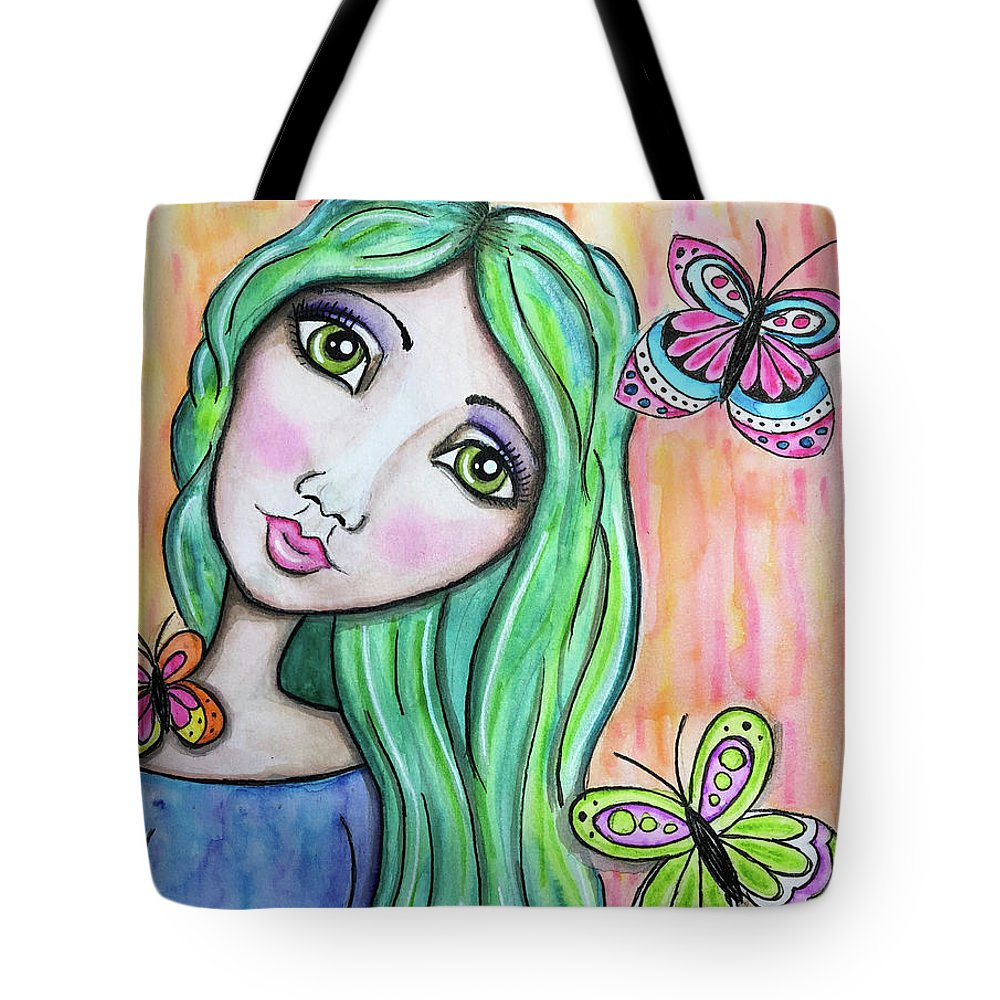 Whimsical Character Tote Bag featuring the painting Hazel by Nadine Larder