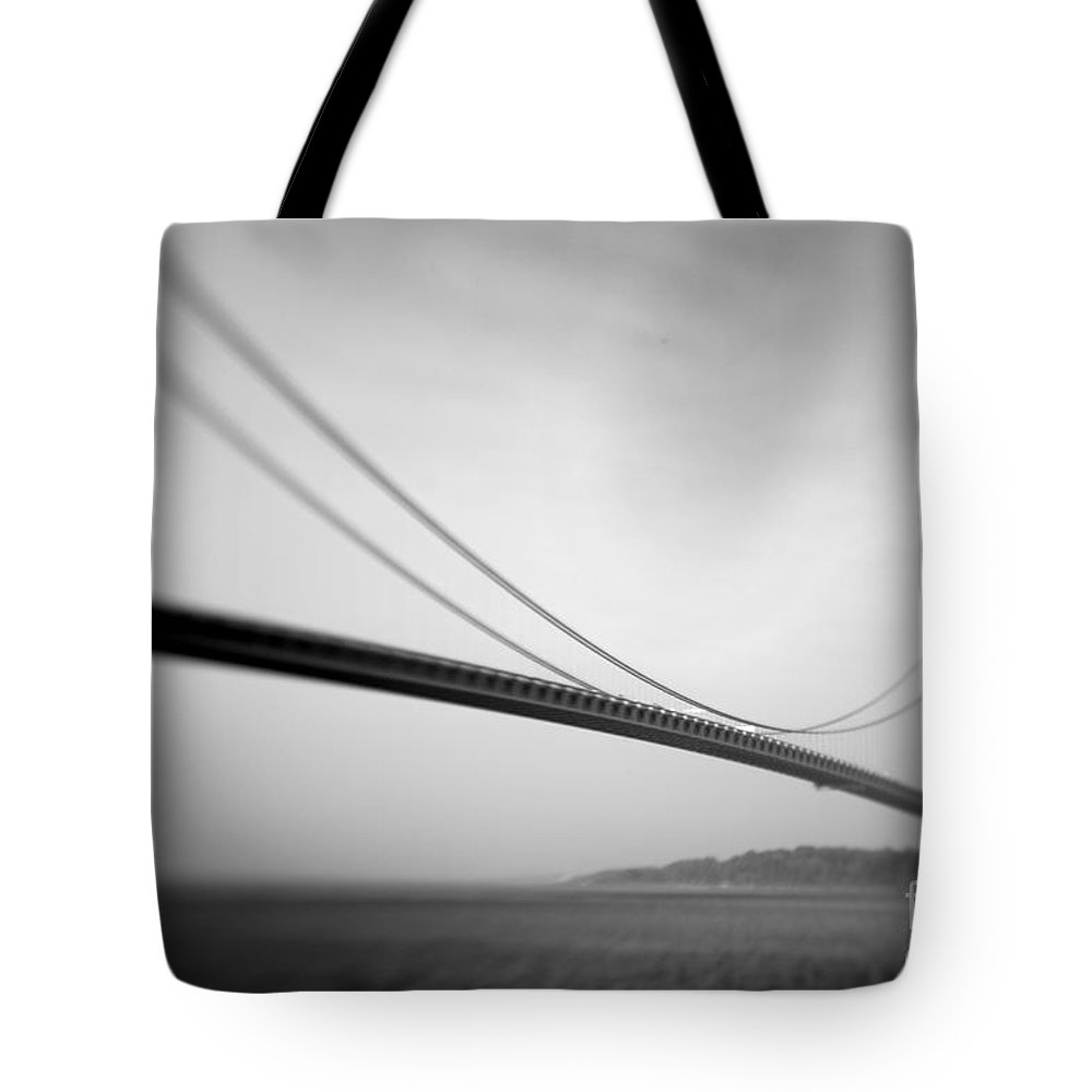 Black & White Tote Bag featuring the photograph Verrazano Bridge 2 by Tony Cordoza