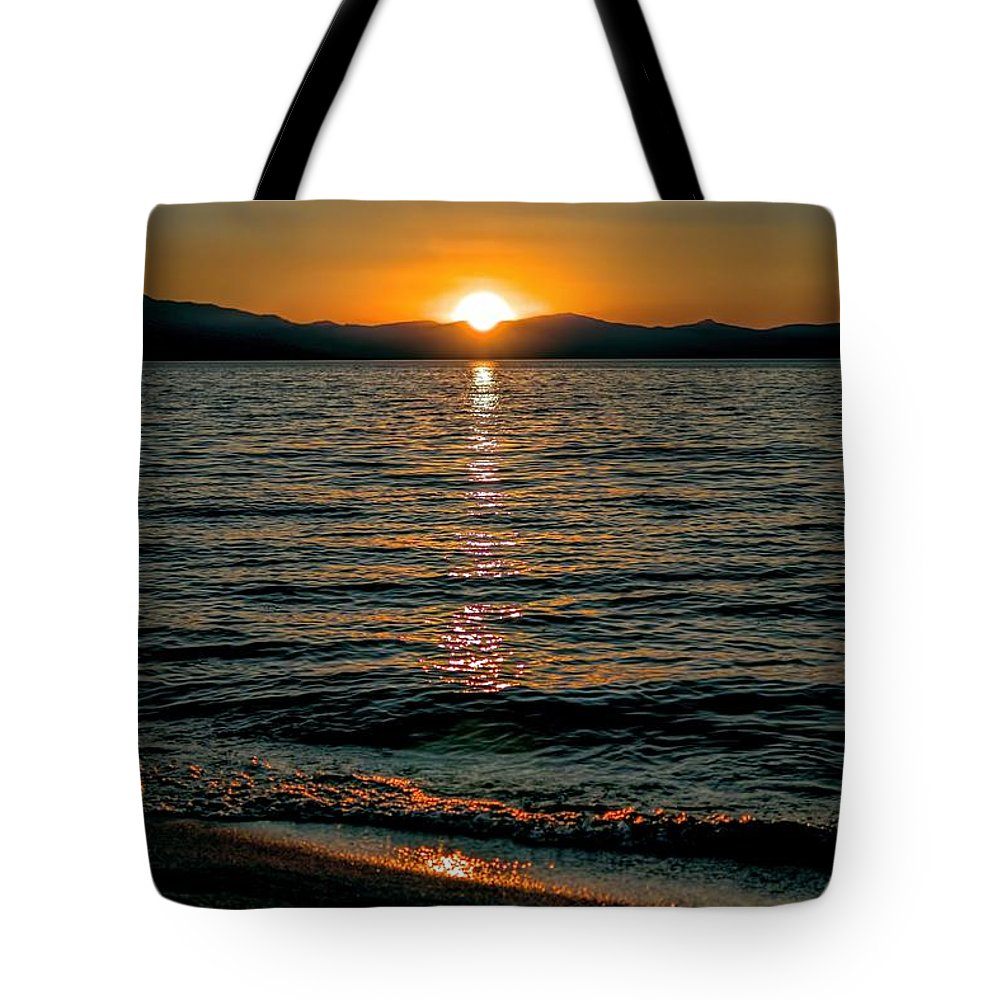 Sunset; Waves; Lake; Orange; Yellow; Blue; Mountains; Alpine; Boats; Reflection; Joe Lach Tote Bag featuring the photograph Vertical Sunset Lake by Joe Lach