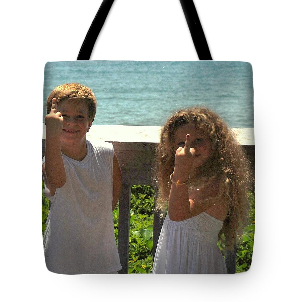 Kids Tote Bag featuring the photograph Very Naughty Angels by Rob Hans
